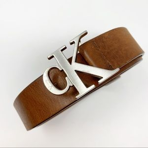 CK Calvin Klein Brown Leather Logo Buckle Belt